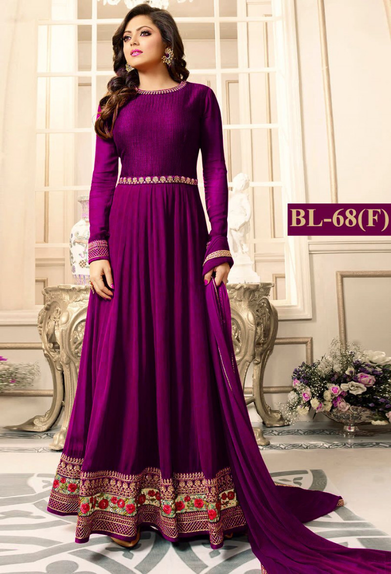 Graceful Purple Colour With Floral Embroidered Anarkali Suit