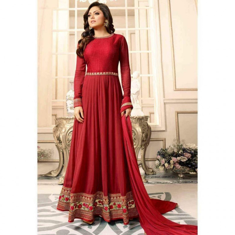 Drashti Dhami Wear Red Colour With Floral Embroidered Anarkali Suit