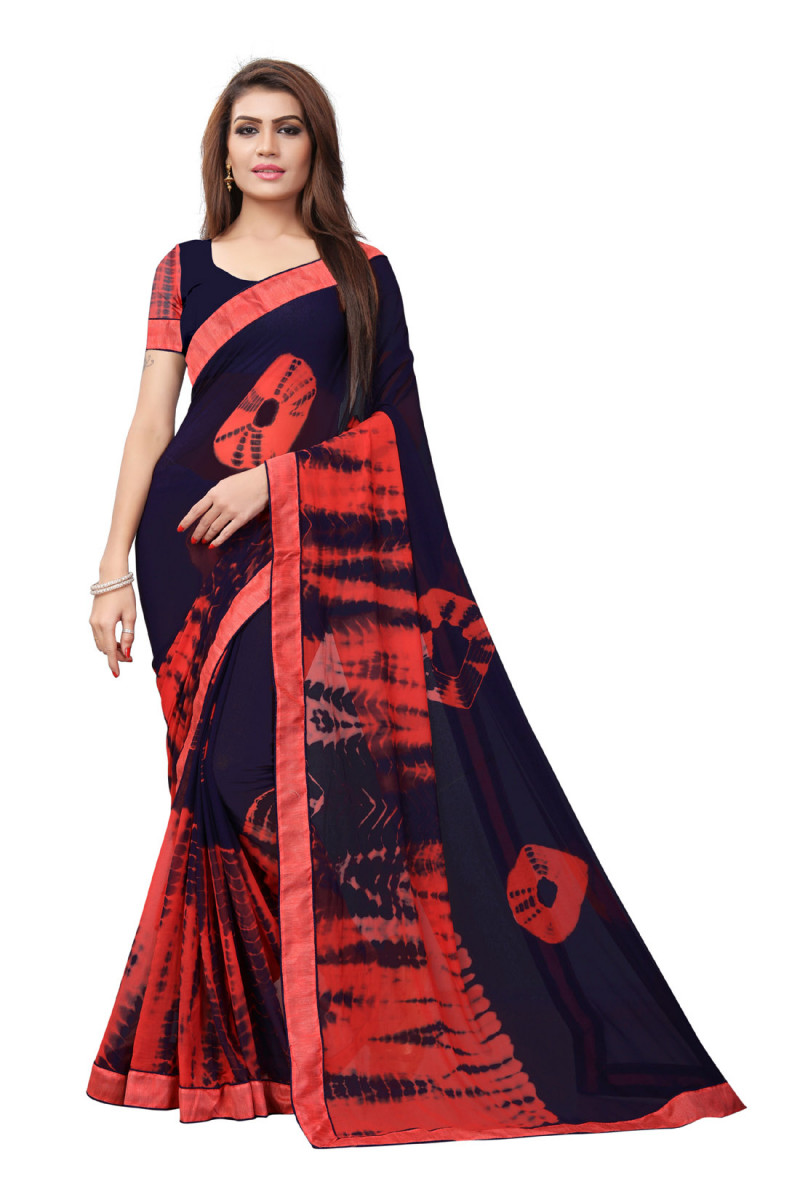 Glowing Red And Blue Colour Georgette Printed Saree