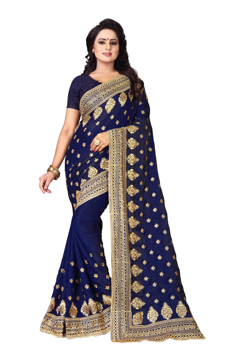 Fashion Design Blue Colour Embroidered Silk Saree With Blouse