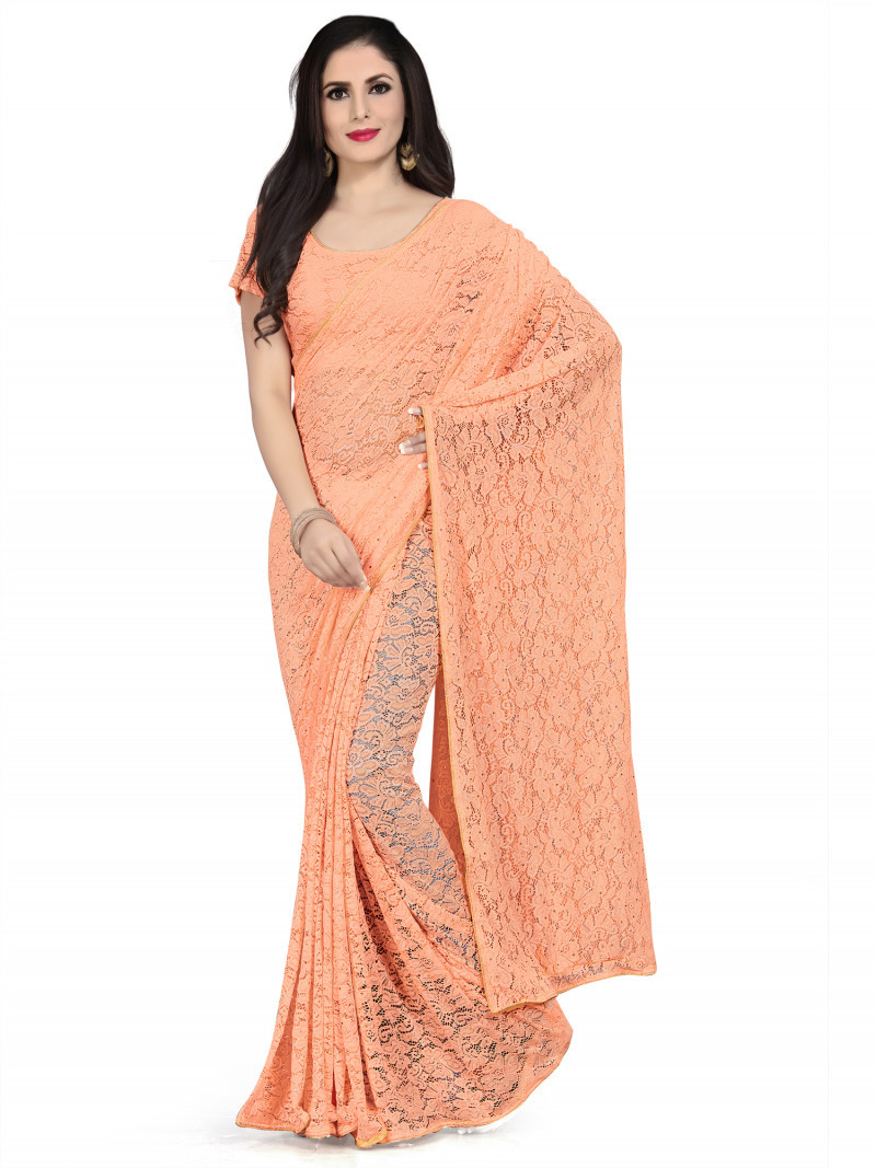 Sophisticated orange Colour fancy saree With Blouse For Women