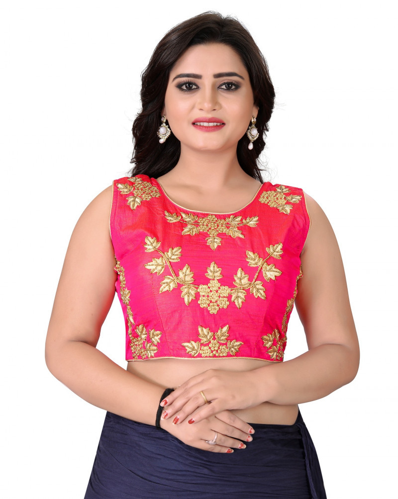 Indian Blushing Pink Colour Round Neck Blouse For Women