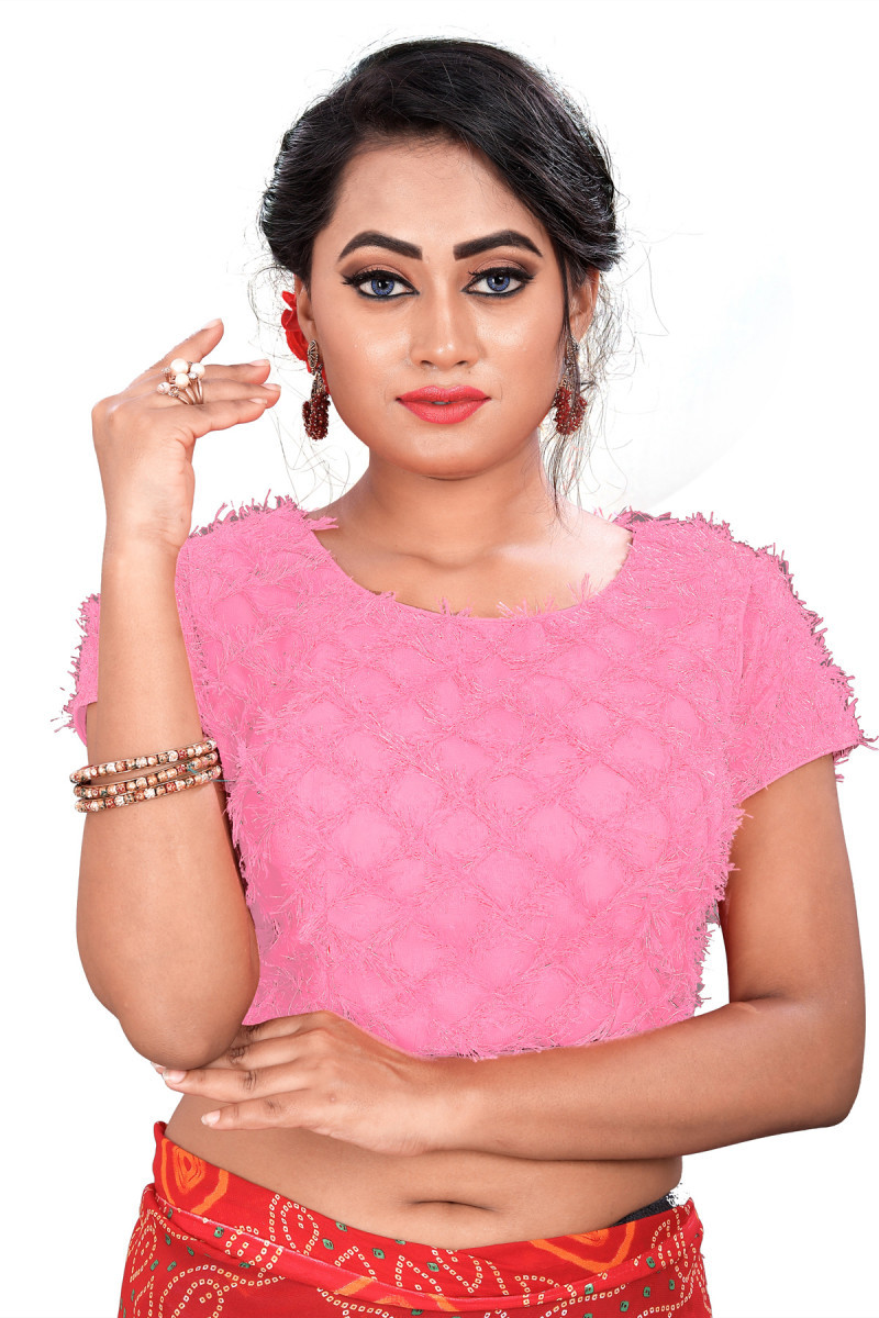 Classic Baby Pink Colour Banglori Blouse For Women