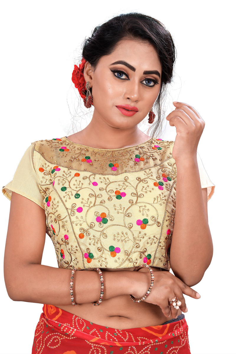 Stunning Beige Colour Boat Neck Stitched Blouse For Women