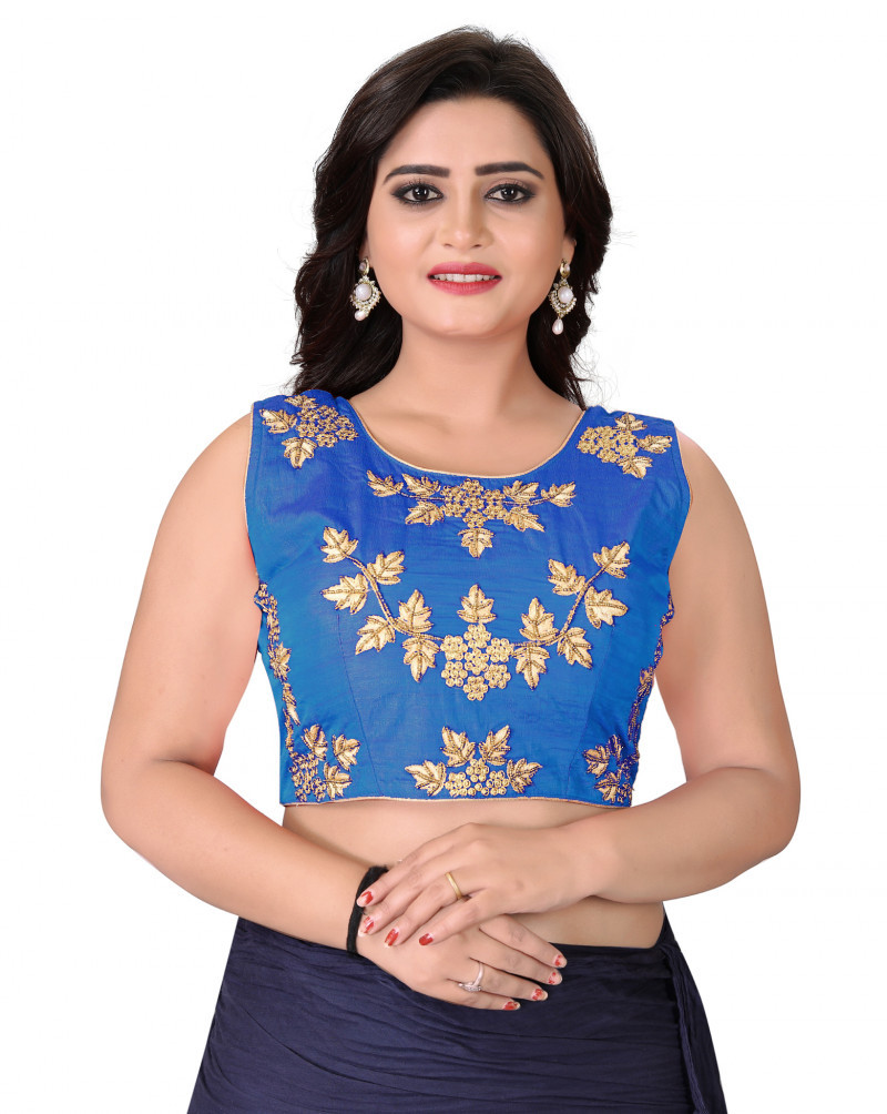 Glowing Blue Colour Roun Neck Blouse For Women