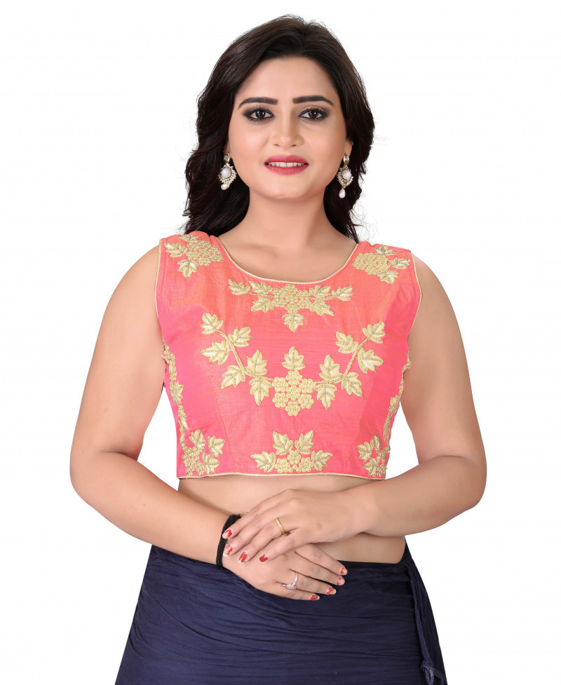 Glorious Light Pink Colour Roun Neck Stitched Blouse For Women