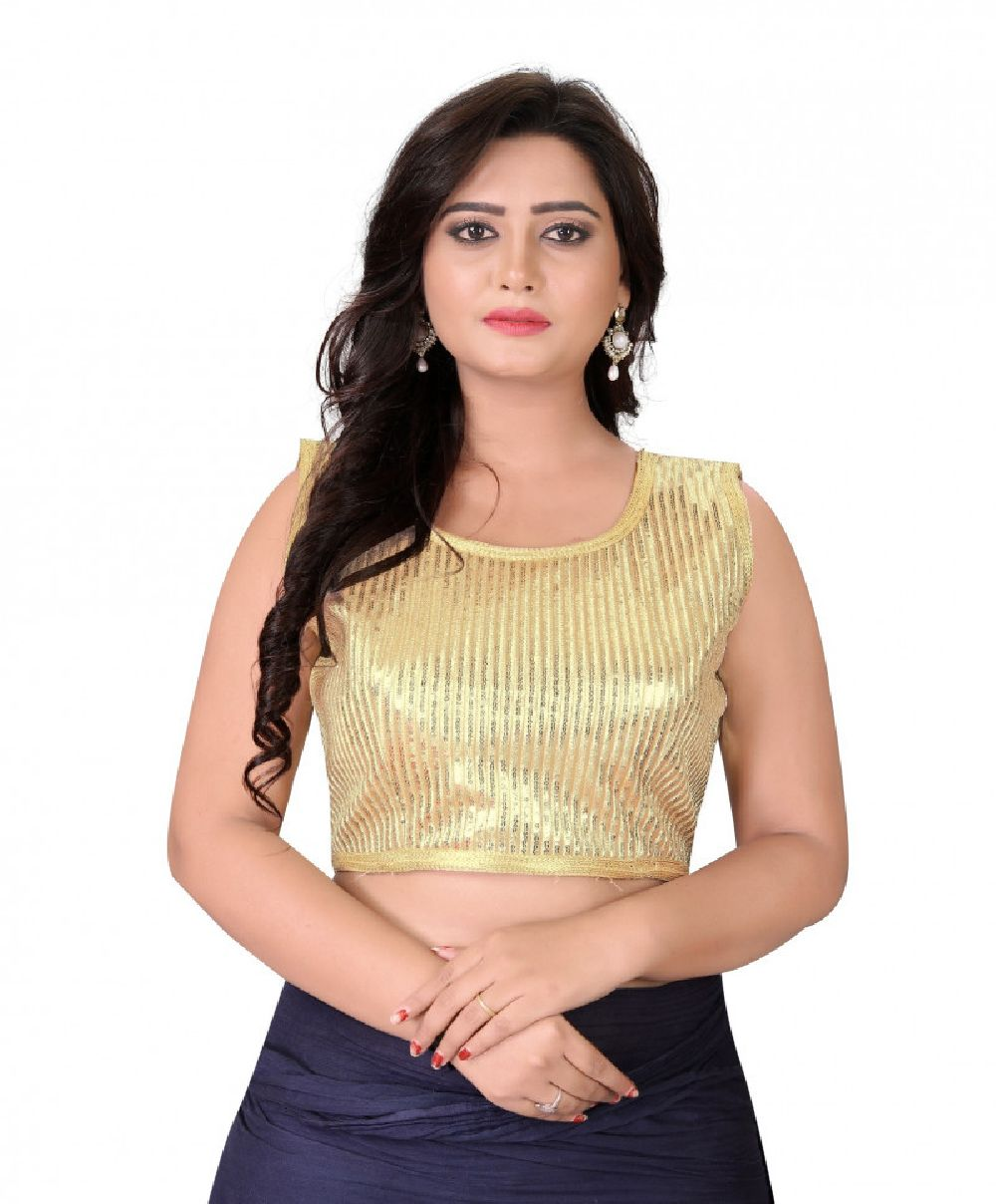 Fantastic Gold Colour Georgette Embroidered Round Neck Blouse