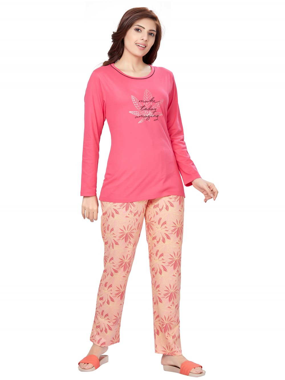 Women Night Wears for Light Color T-Shirt Pyjama with Smoother Stretchable