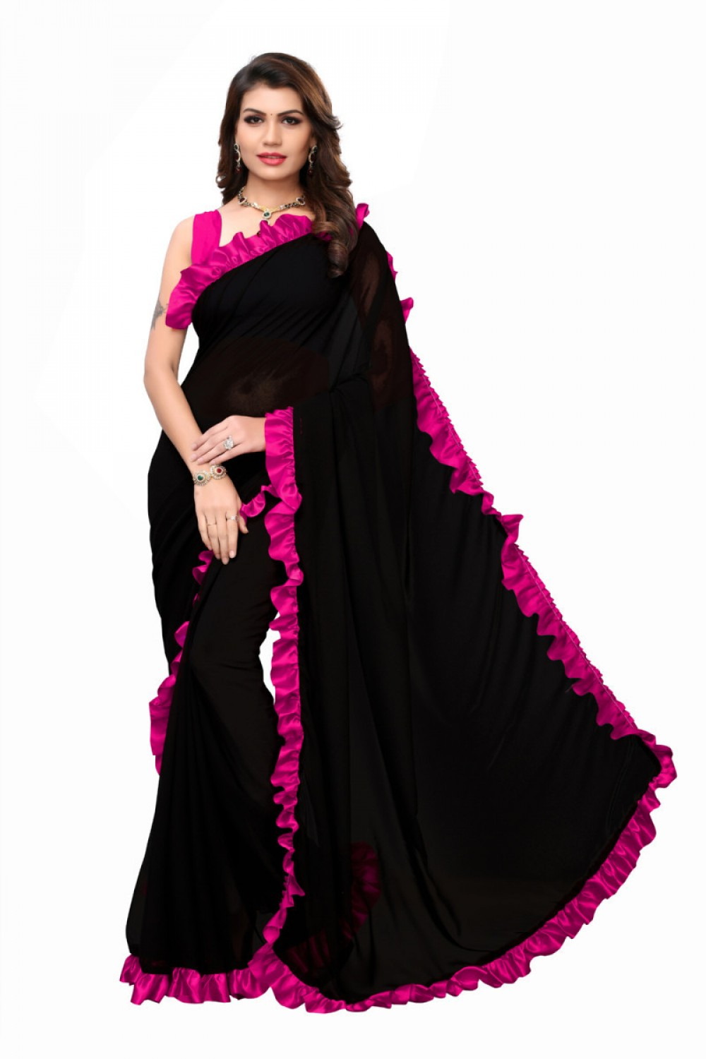 Fantastic Pink And Black Color Georgette Ruffle Saree