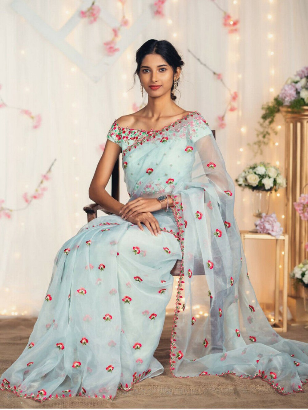 Sophisticated Unique Colour Saree With Mono Embroidery Work