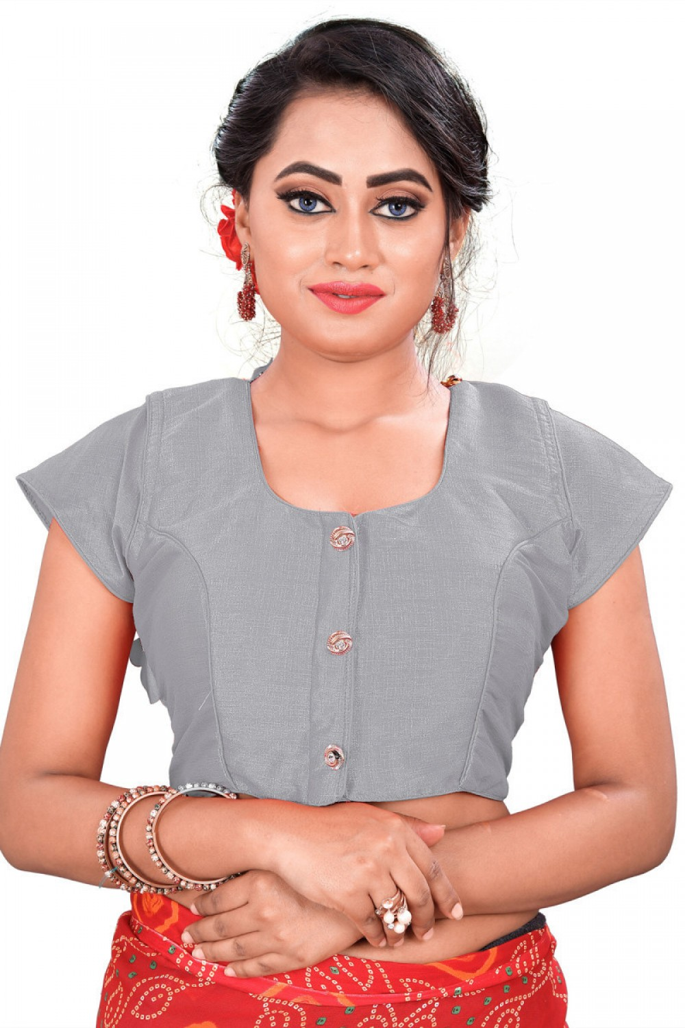 Intricate Grey Colour Round Neck Blouse
