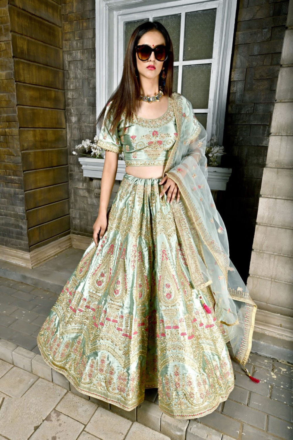 Eye catching Glowing Green Colour mbroidered Lehenga Choli