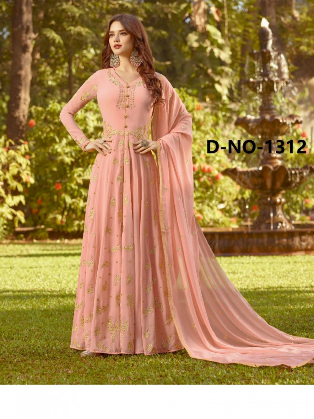 Fashion Design Georgette Peach Colour Anarkali Salwar Suit
