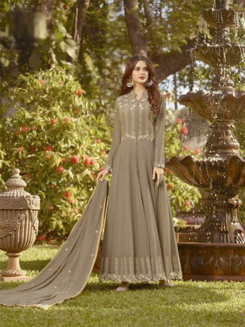 Fantastic Brown Colour Anarkali Salwar Suit With Dupatta