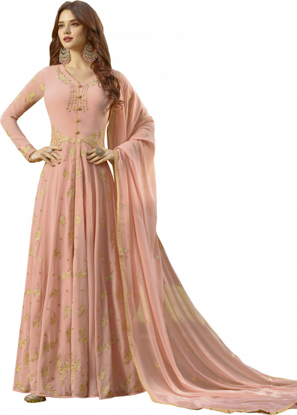 Fab Peach Colour With Embroidary Work Anarkali Salwar Suit