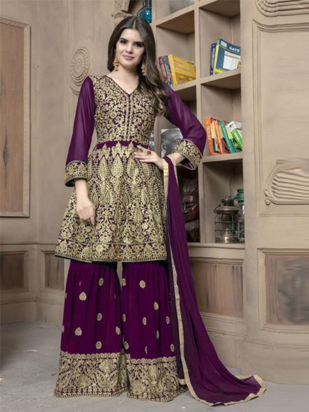 Eye-catching Purple Colour Embroidered Sharara Suit