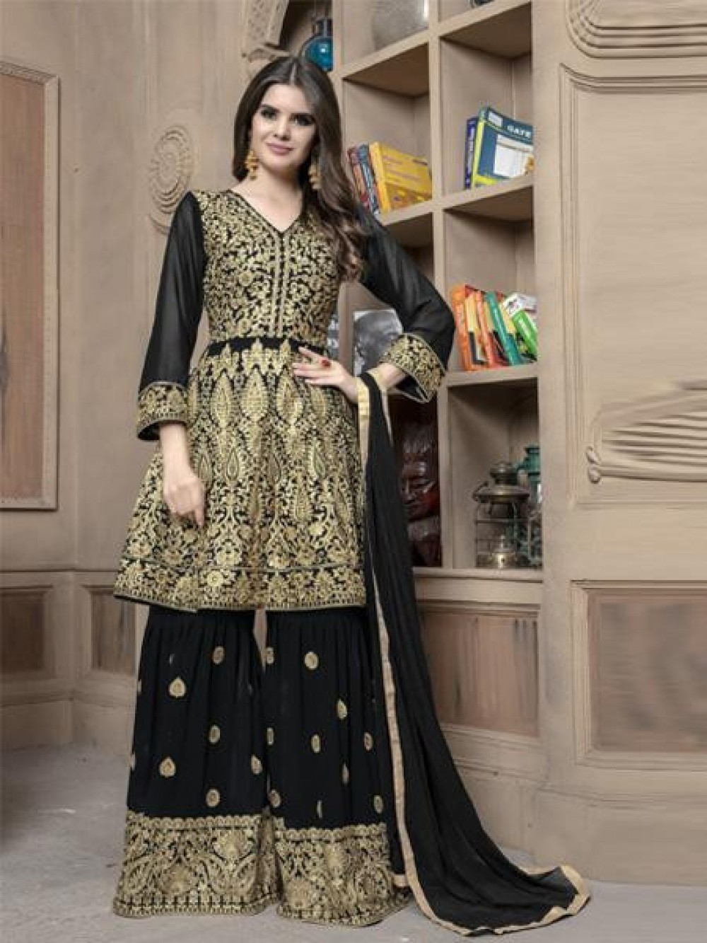 Eye catching Black Colour Embroidary Work Sharara Suit