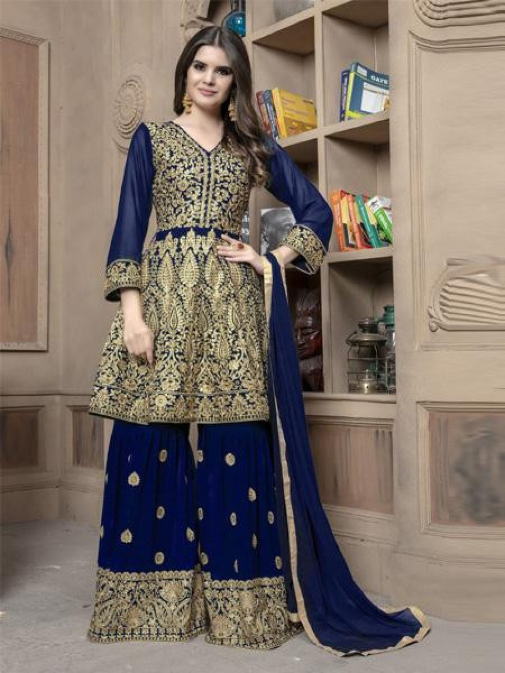 Exotic Dark Blue Colour Embroidered Sharara Suit