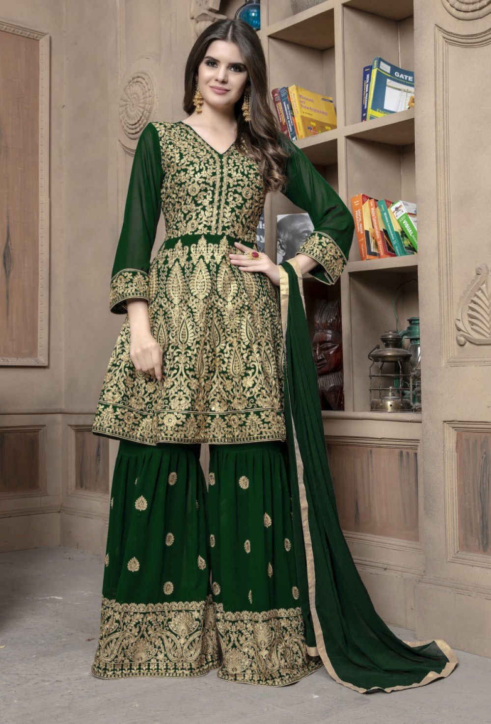 Exellent Green Colour Embroidered Sharara Suit