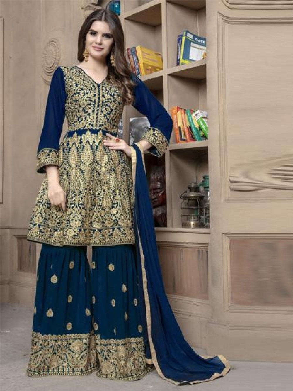 Exclusive Blue Colour Faux Georgette Anarkali Suit