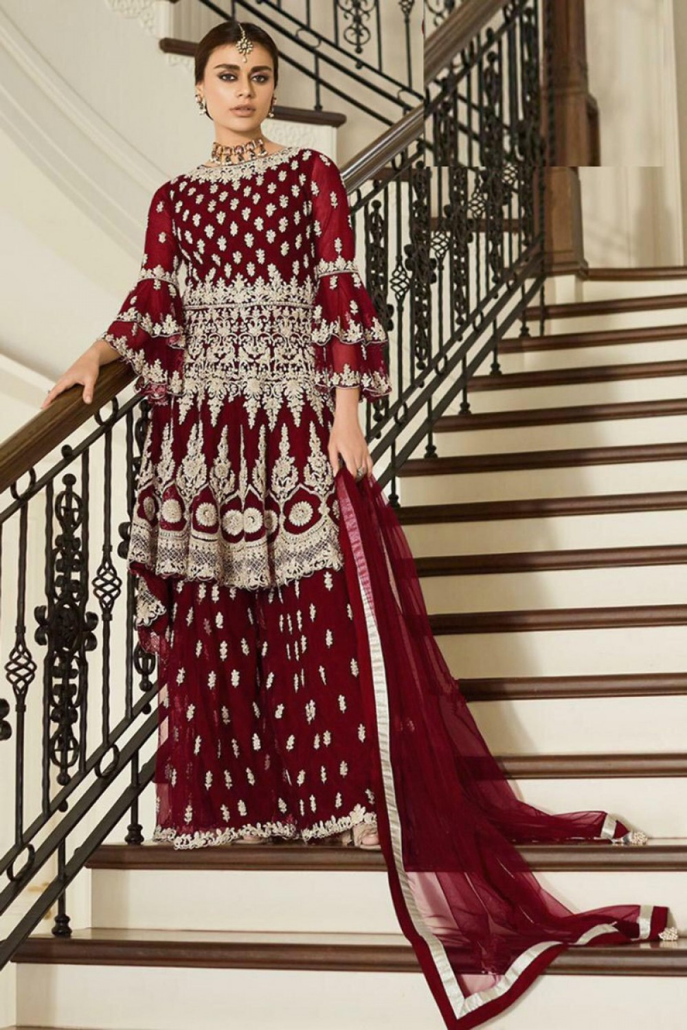 Classy Maroon Colour Embroidered Sharara Suit