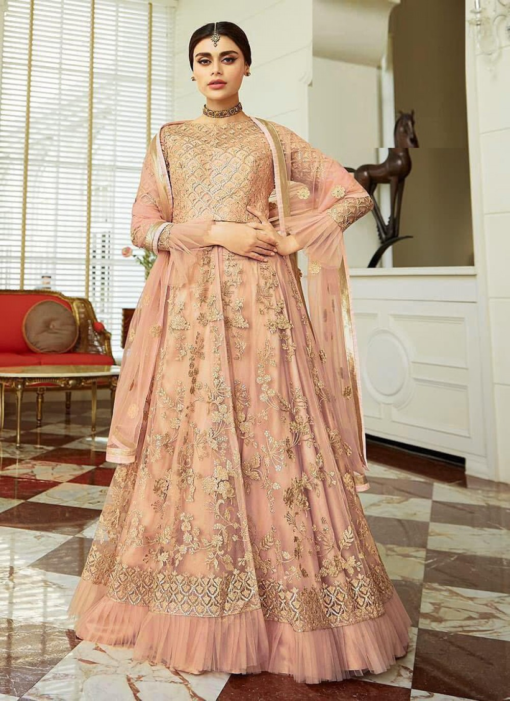 Charming Light Pink Colour Fancy Anarkali Suit