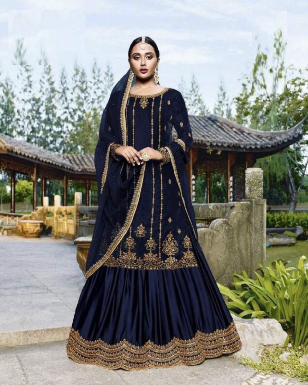 Beguiling Blue Colour Embroidered Sharara Suiit