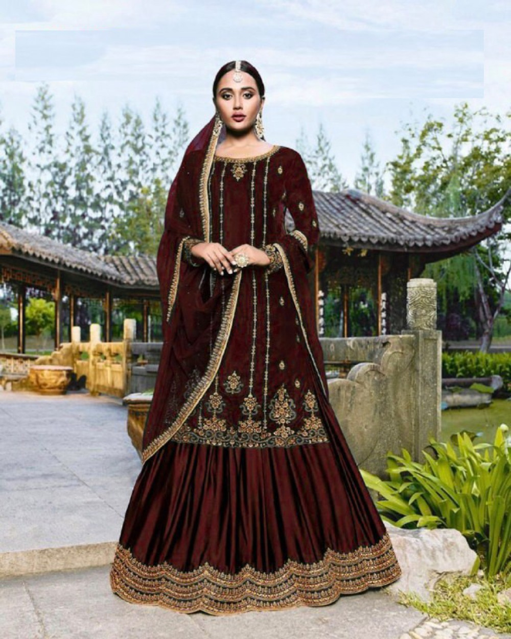Bedazzling Maroon Colour Embroidered Sharara Suiit