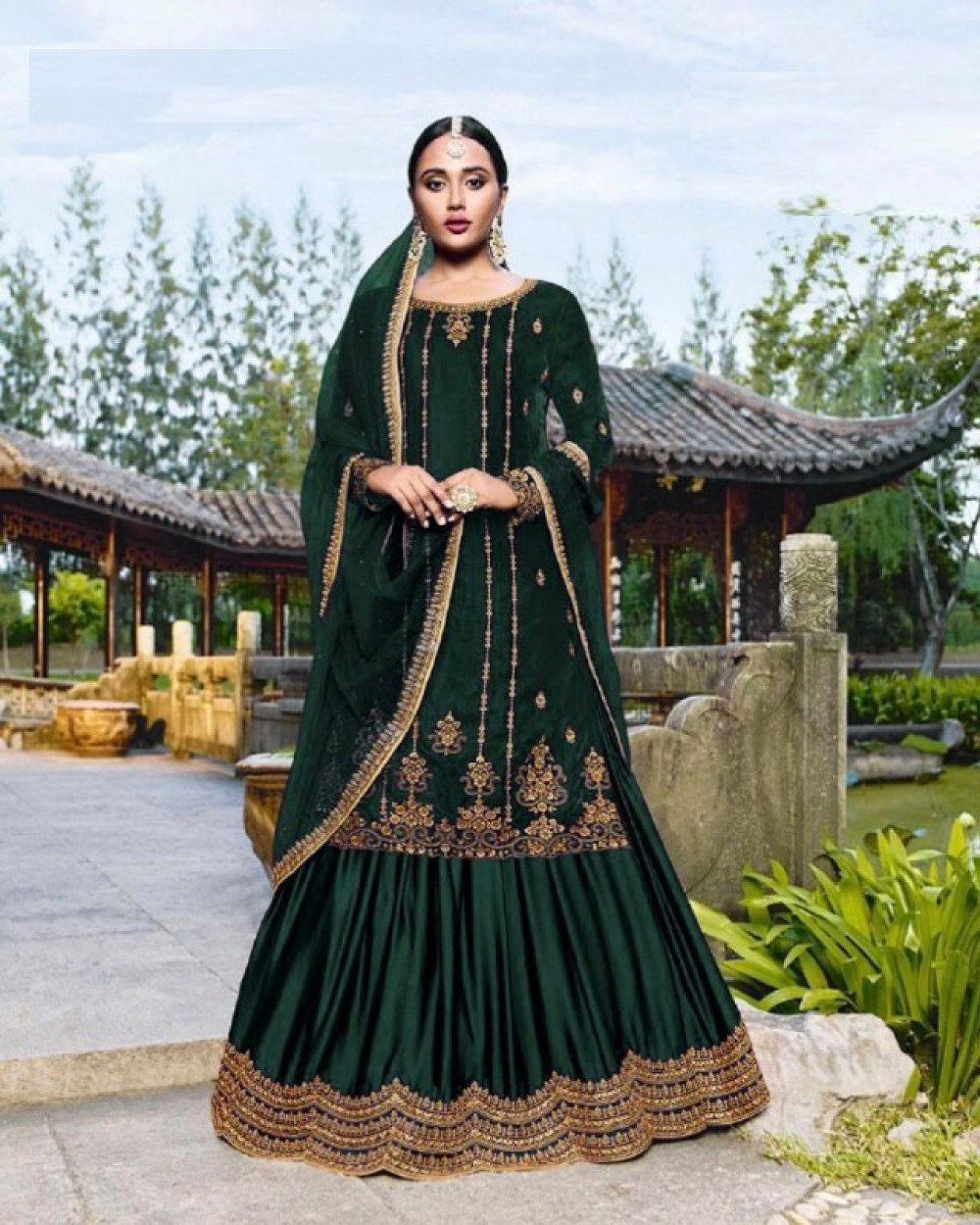 Beautiful Green Colour Sharara Suiit With Dupatta