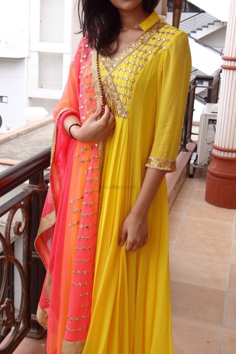 Adorable Yellow And Orange Mirror Worked Salwar Suit