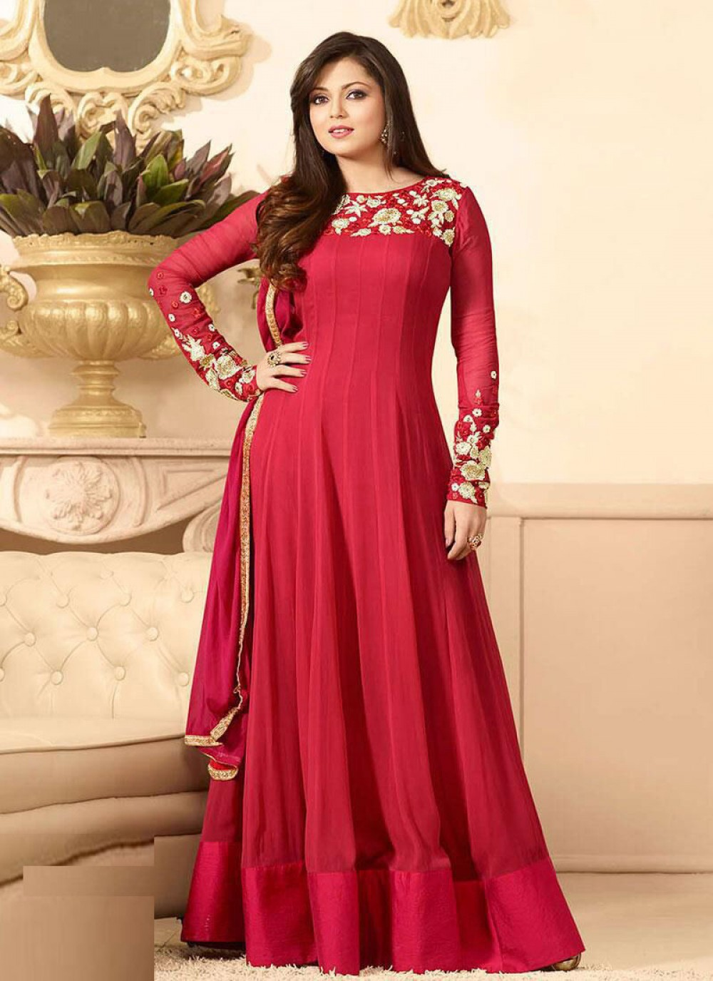 Admiring Red Colour Anarkali Suit With Dupatta