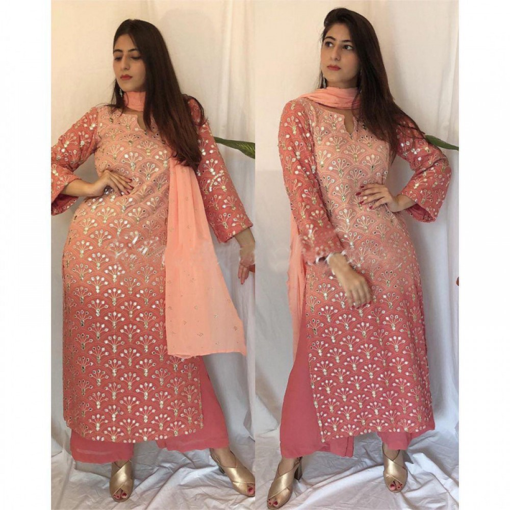 Precious Peach Colour Plazzo Suit With Embroidery Work