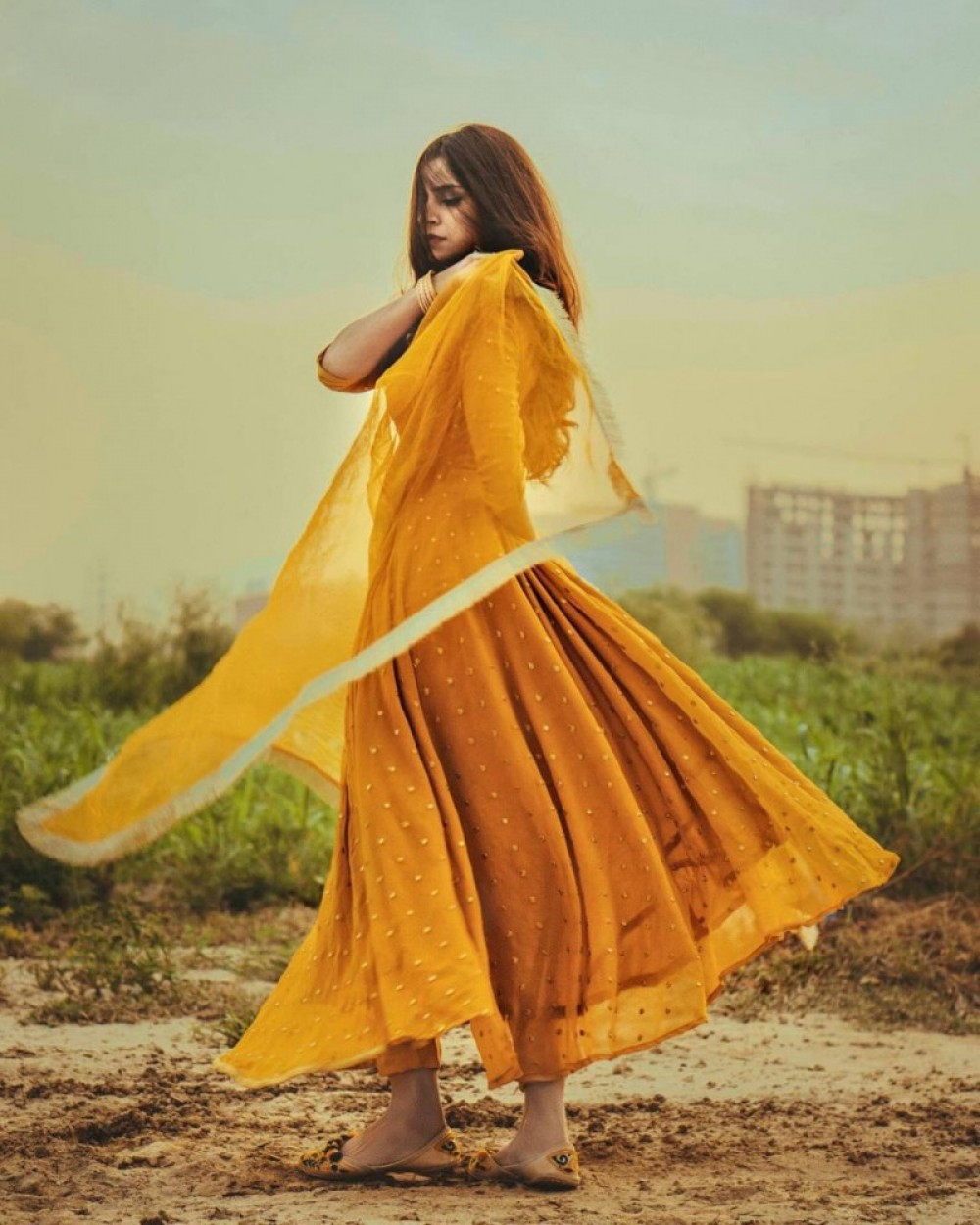 Wonderful Yellow Colour Gown With Embroidery Work