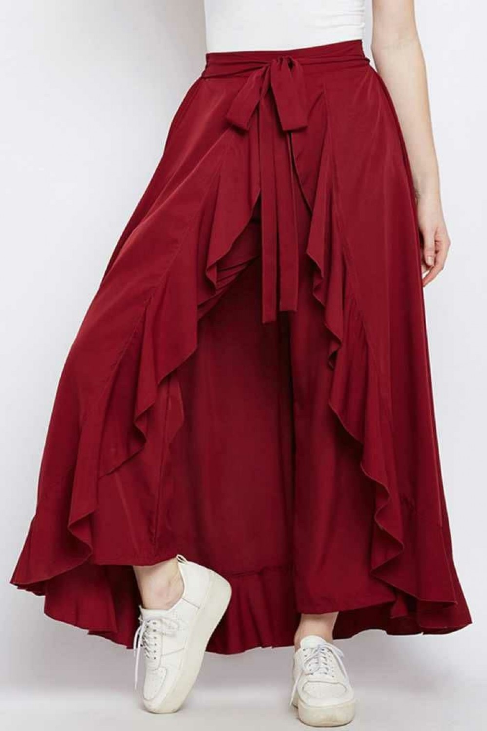 Glossy Heavy Crepe Red Western Palazzo