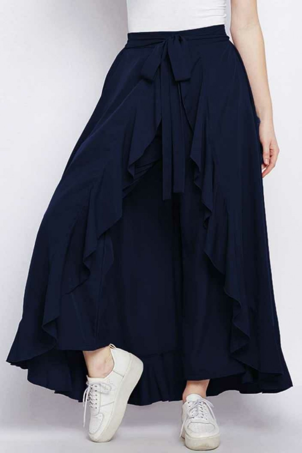 Glowing Heavy Crepe Navy Blue Western Palazzo