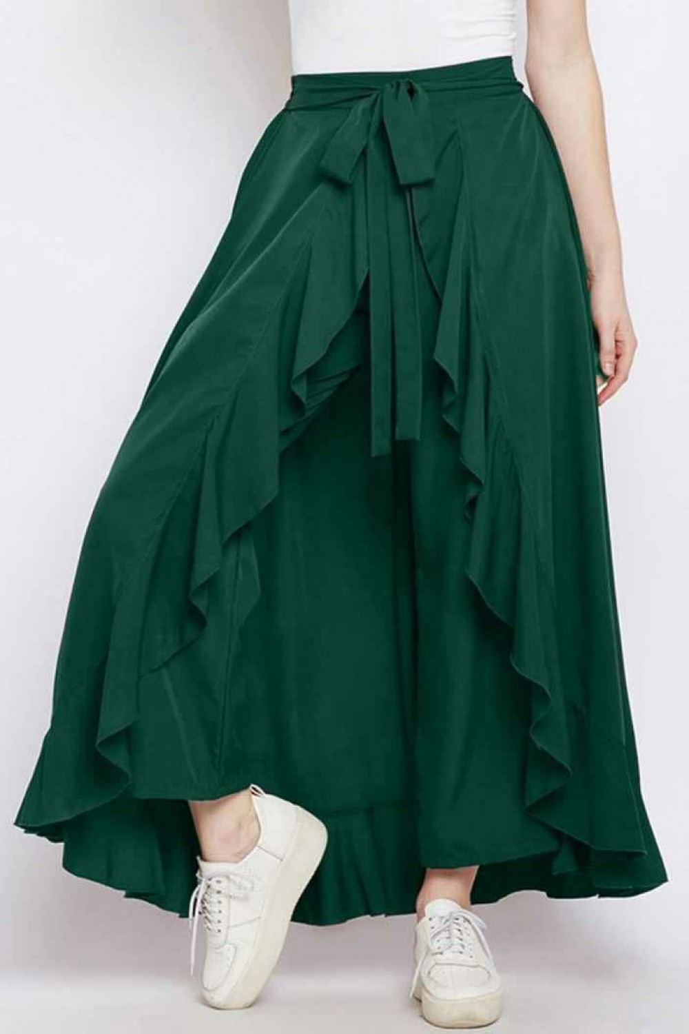 Good Looking Heavy Crepe Green Western Palazzo