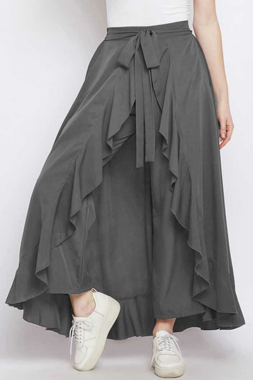 Graceful Heavy Crepe Grey Western Palazzo