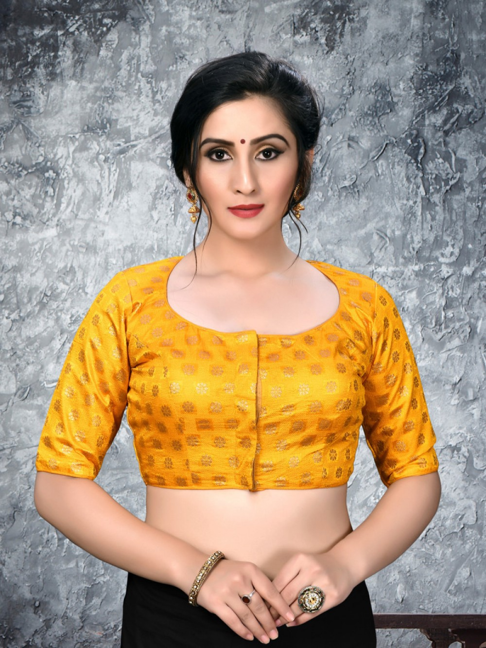 Alluring Yellow Colour Embroidered Blouse For Women