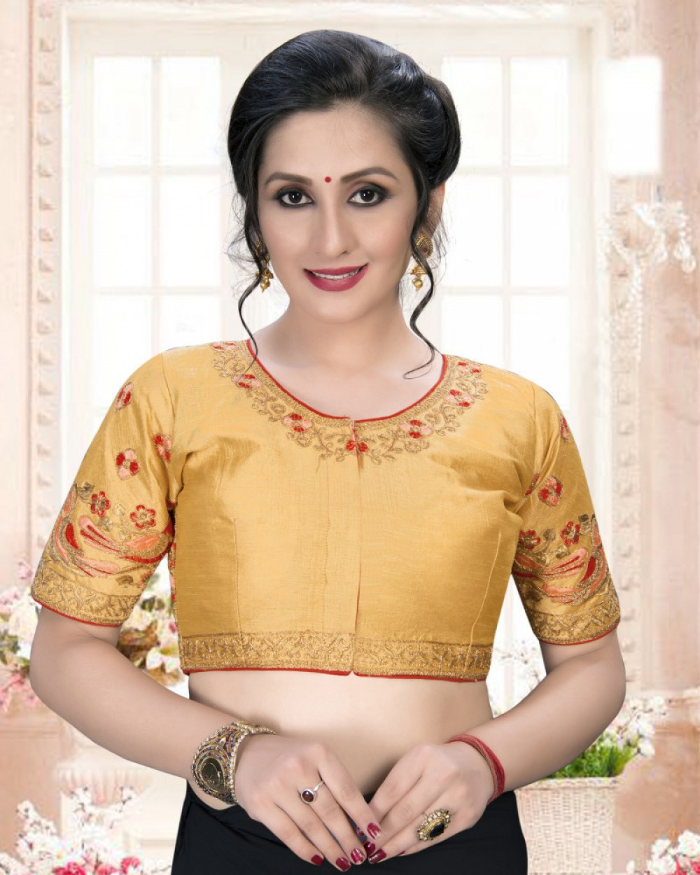 Marvellous Beige Colour Phantom Silk Stylish Blouse for Women