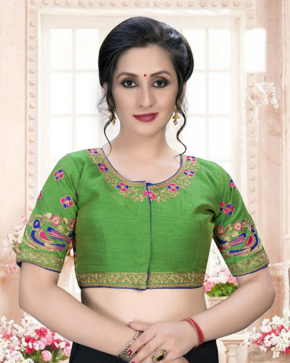 Meticulous Green Colour Phantom Silk Stylish Blouse for Girls