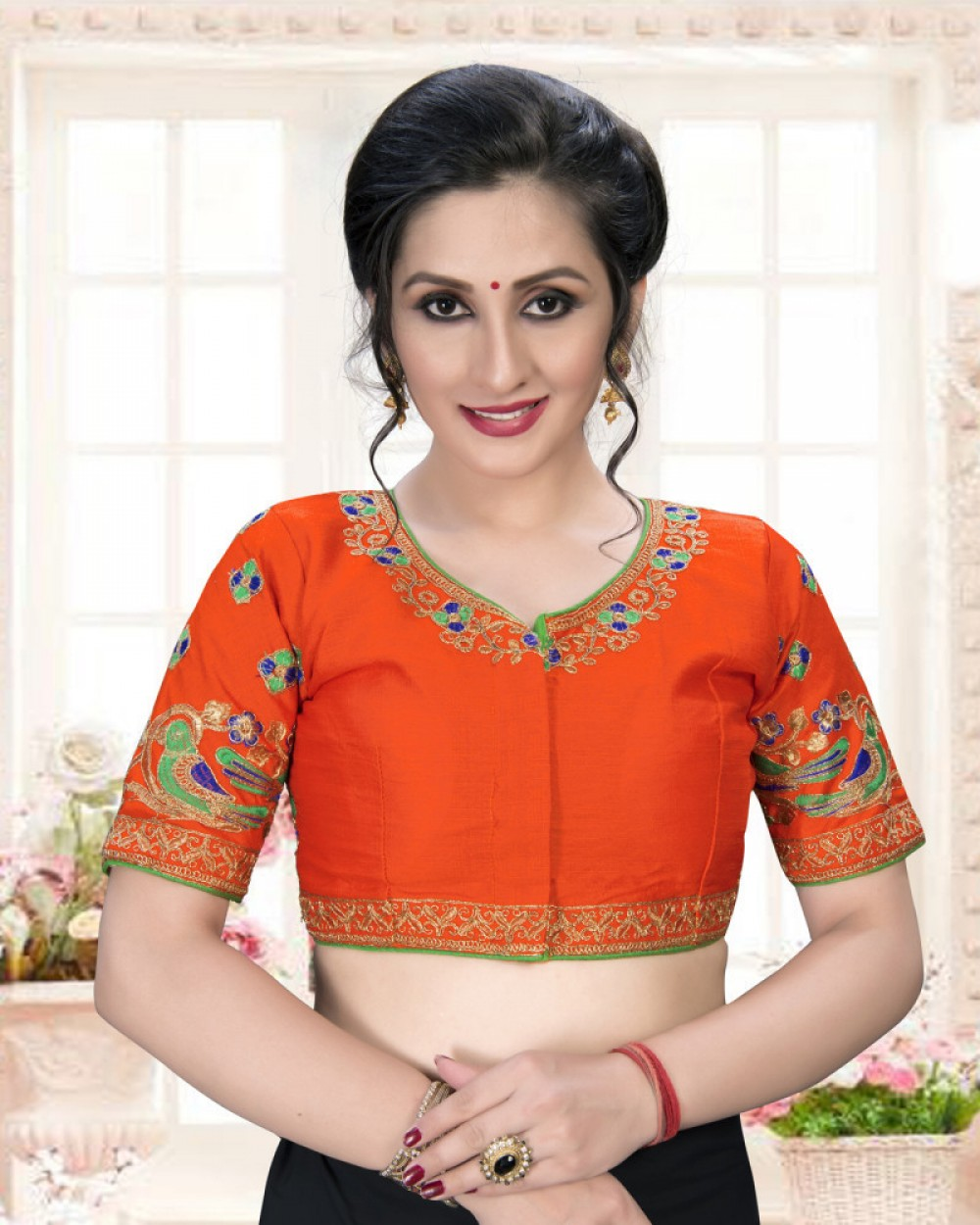 Outstanding Orenge Colour Phantom Silk Stylish Blouse for Women
