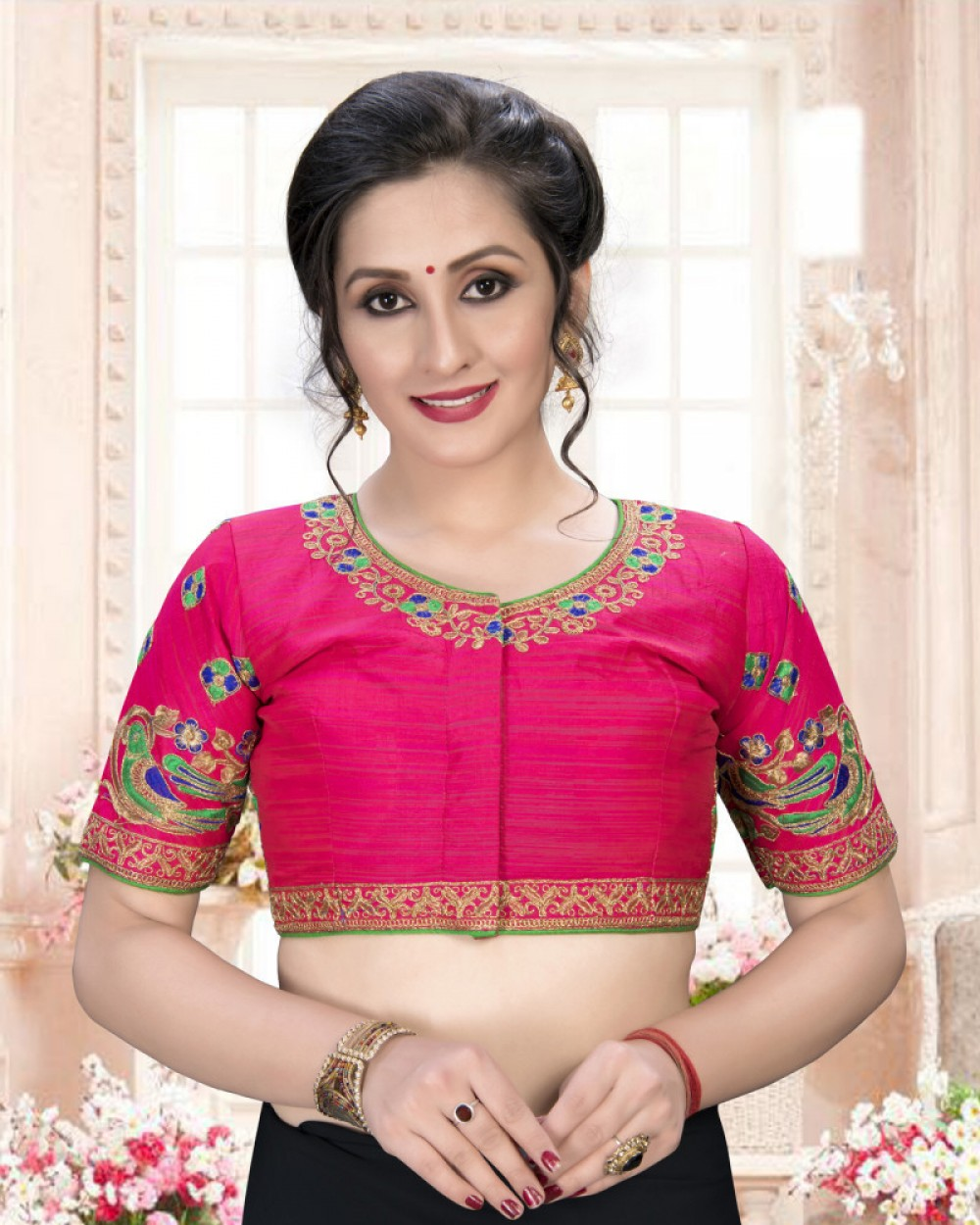 Peacefull Pink Colour Phantom Silk Stylish Blouse for Girls