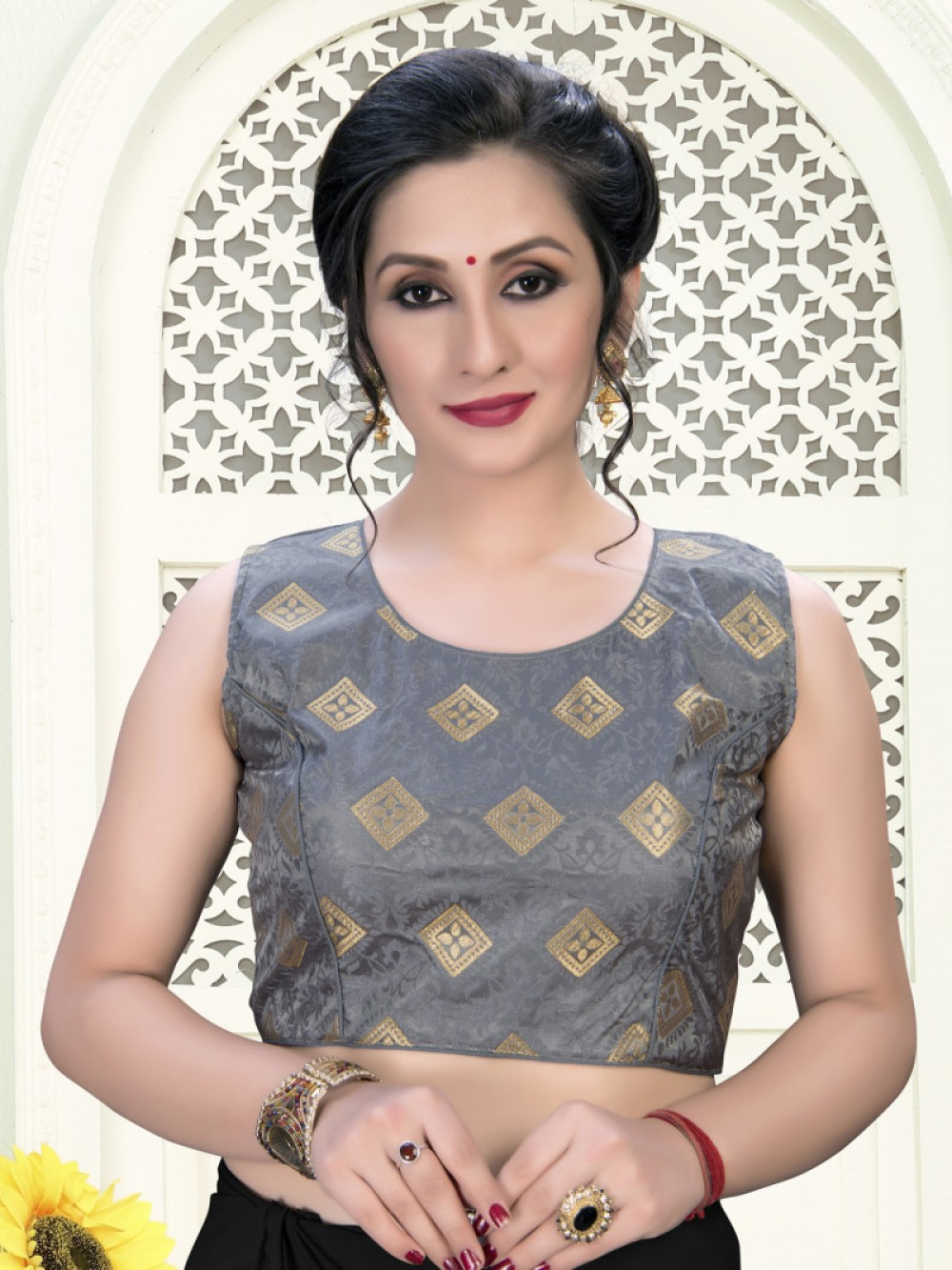 Ravishing Grey Colour Phantom Silk Stylish Blouse for Girls