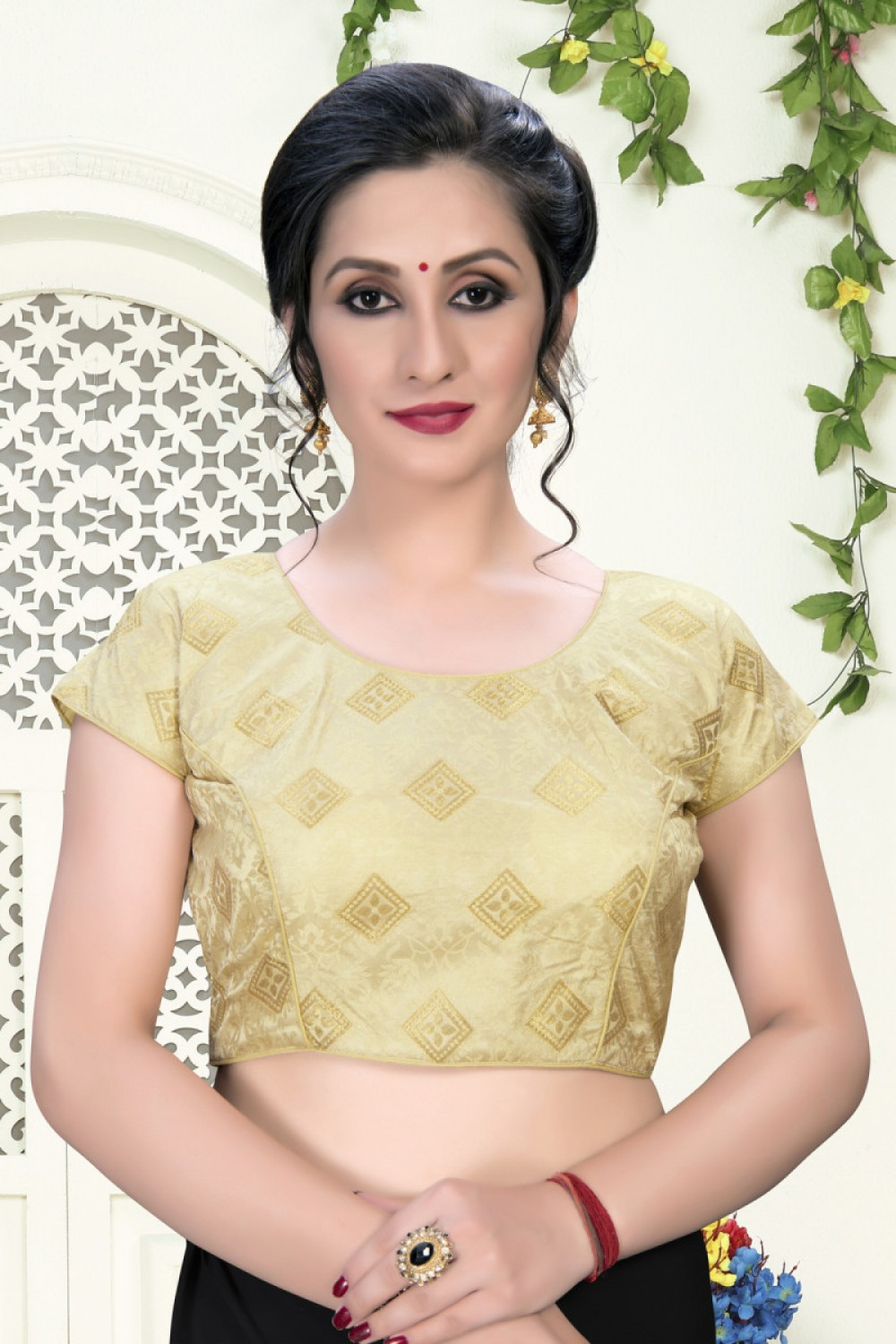 Stylish Beige Colour Phantom Silk Stylish Blouse for Girls