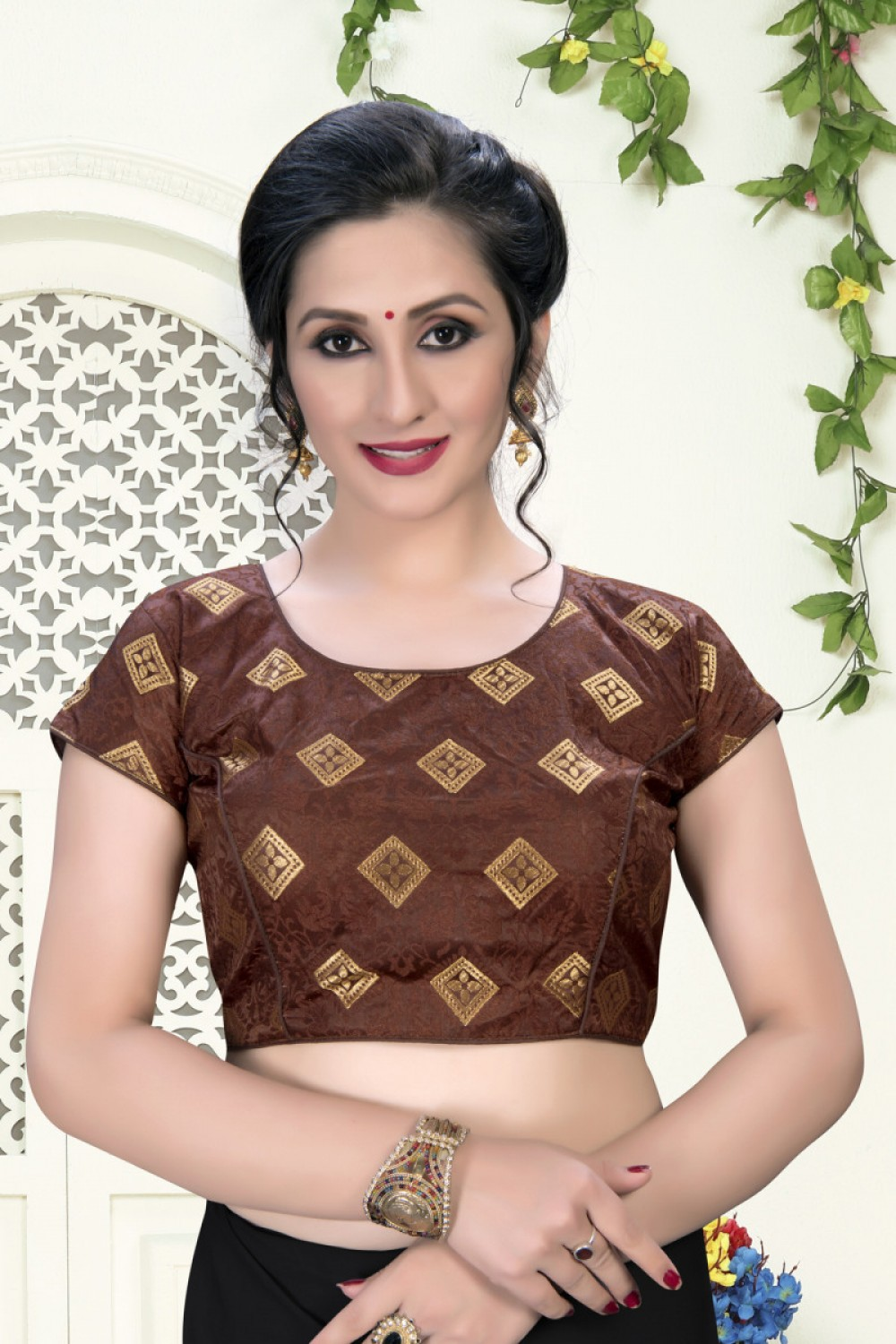 Wonderful Brown Colour Phantom Silk Stylish Blouse for Women