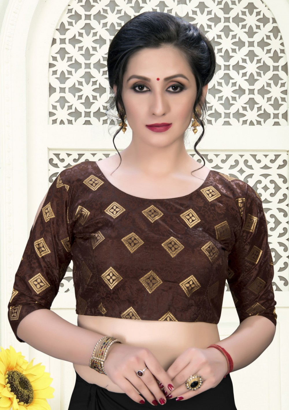 Beautiful Brown Colour Phantom Silk Stylish Blouse for Girls