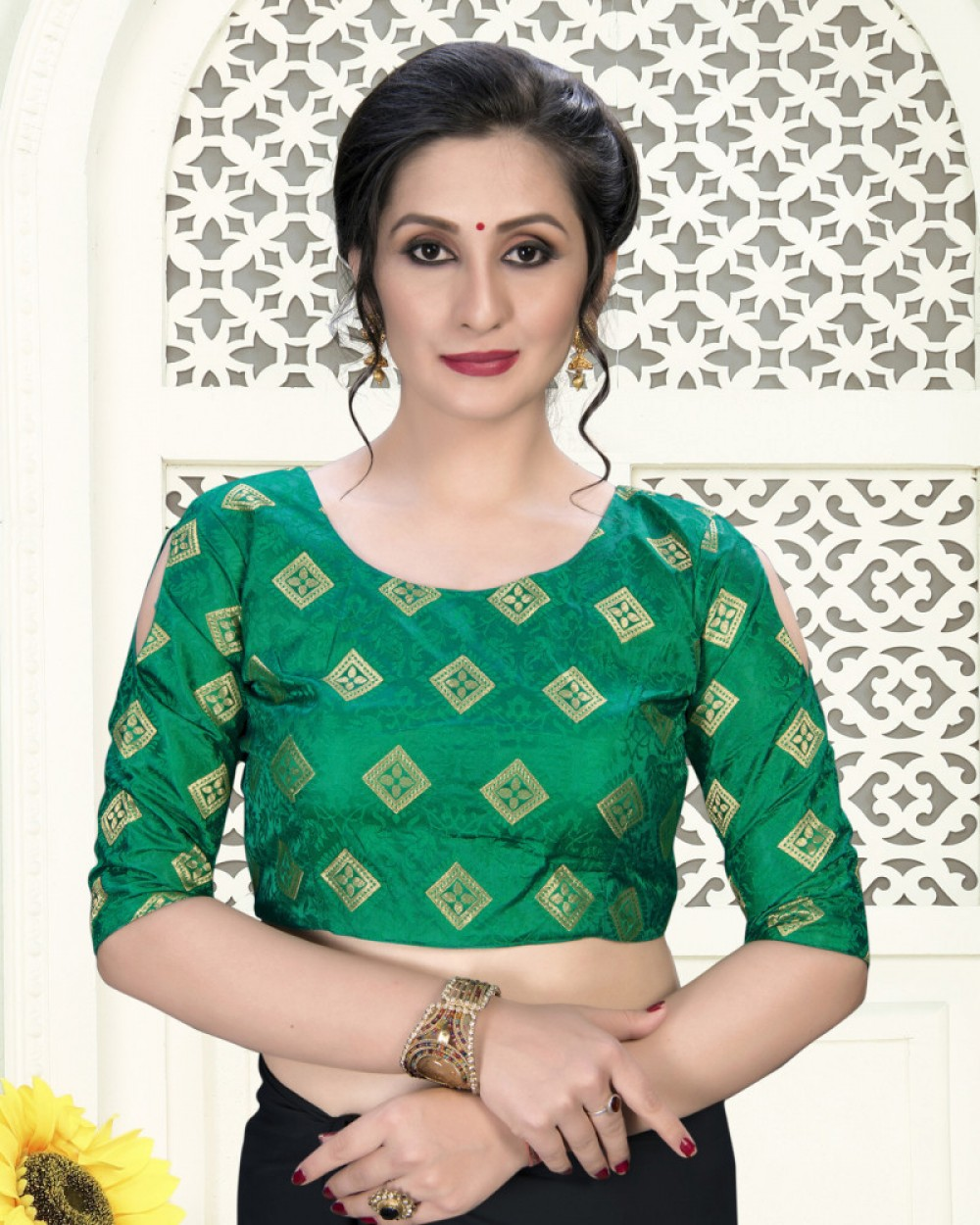 Blissful Green Colour Phantom Silk Stylish Blouse for Women