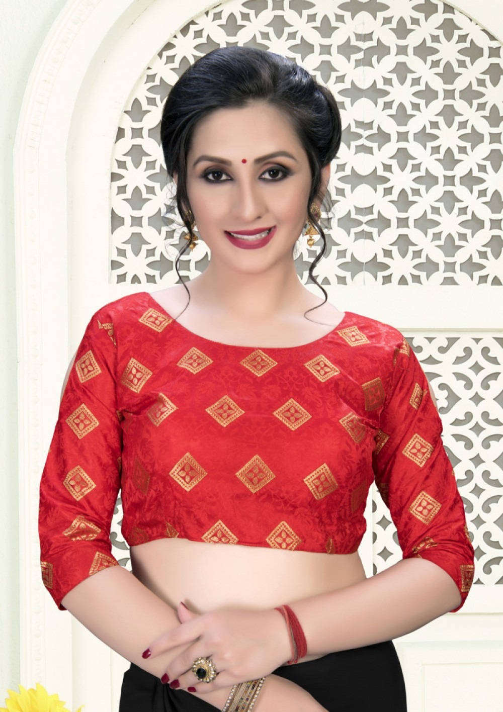 Classy Red Colour Phantom Silk Stylish Blouse for Women