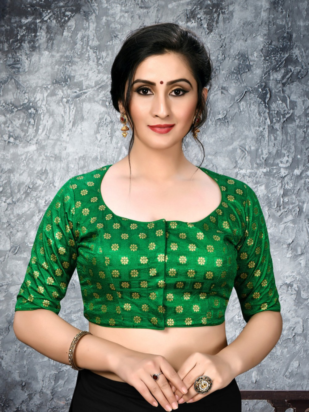 Desiring Green Colour Phantom Silk Stylish Blouse for Girls