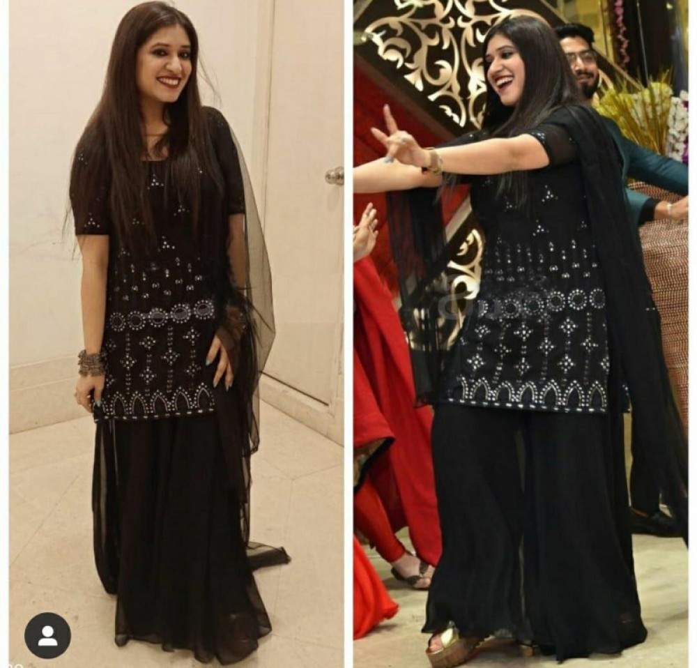 Classy Party Wear Black Colour Fully Stitch Sarara Suit
